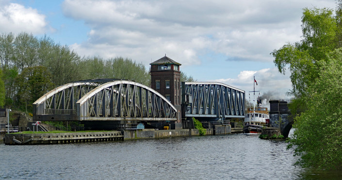 Barton Road Swing Bridge and Aqueduct on the Manchester Ship Canal