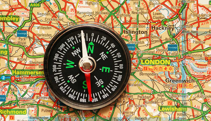 Compass on Map of London