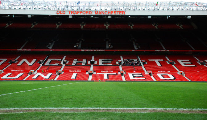 Pitchside View of Manchester United's Old Trafford Football Stadium