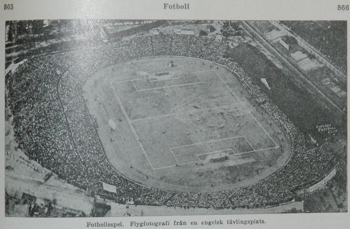 Aerial View of Stamford Bridge During Match in the Late 1920's