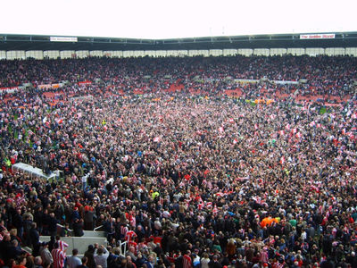 Pitch Invasion by Stoke City Fans Following Promotion