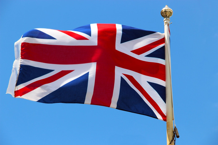 Union Jack Flag on Flagpole