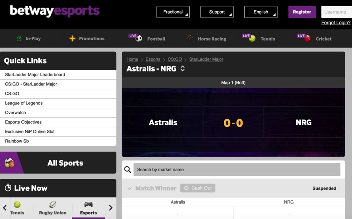 Betway E-Sports Screenshot