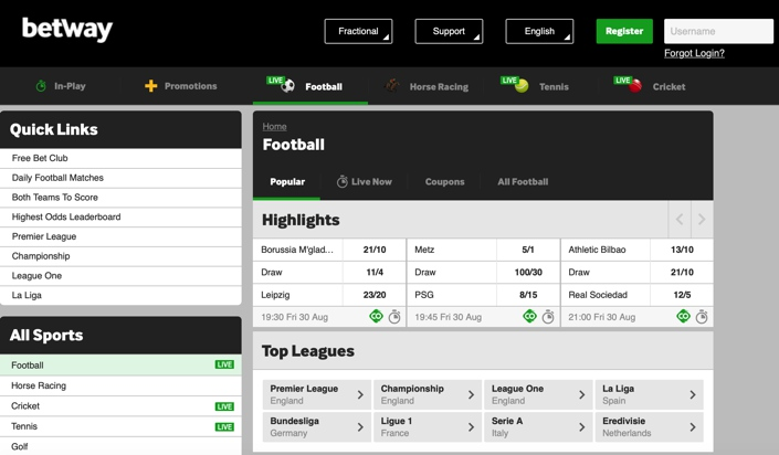 Betway Football Screenshot