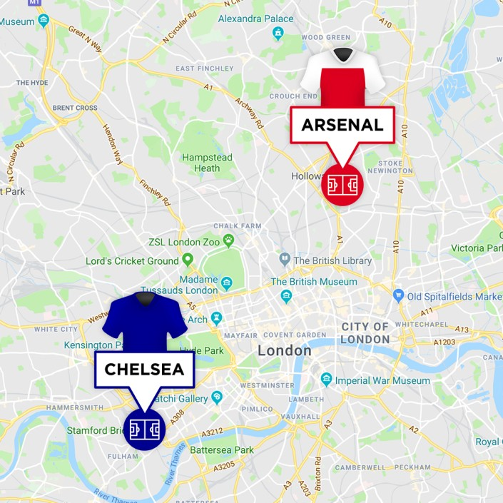 Map of Arsenal & Chelsea Stadiums