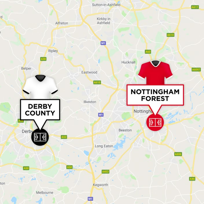 Map of Derby County & Nottingham Forest Stadiums