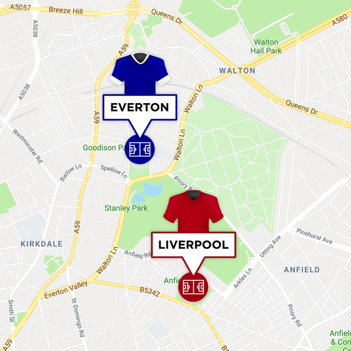 Map of Liverpool & Everton Stadiums