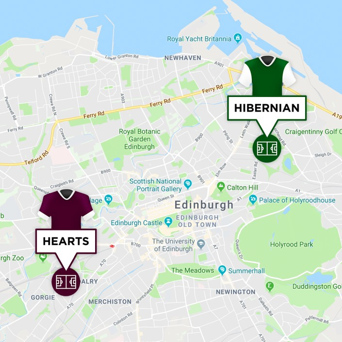 Map of Hearts & Hibernian Stadiums