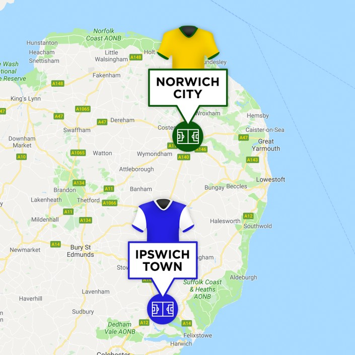 Map of Norwich City & Ipswich Town Stadiums