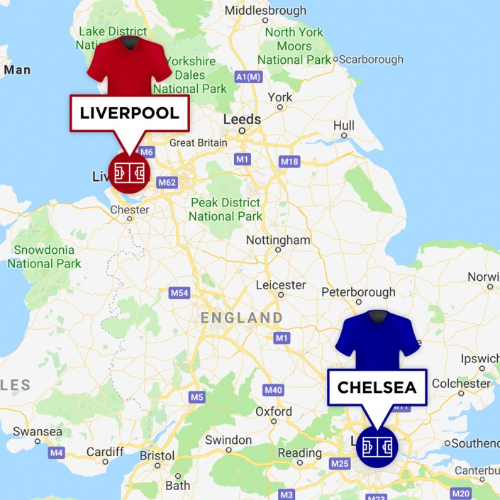 Map of Liverpool & Chelsea Stadiums