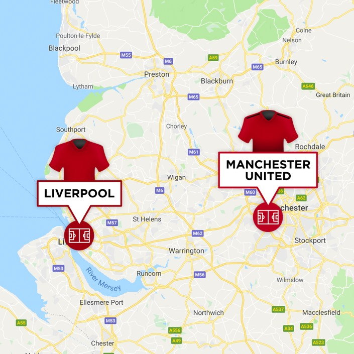 Map of Manchester United & Liverpool Stadiums