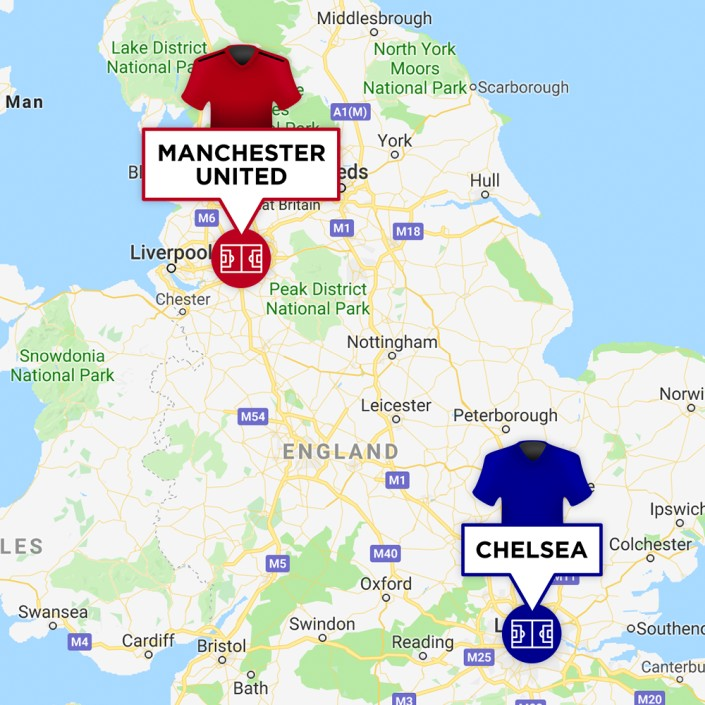 Map of Manchester United & Chelsea Stadiums