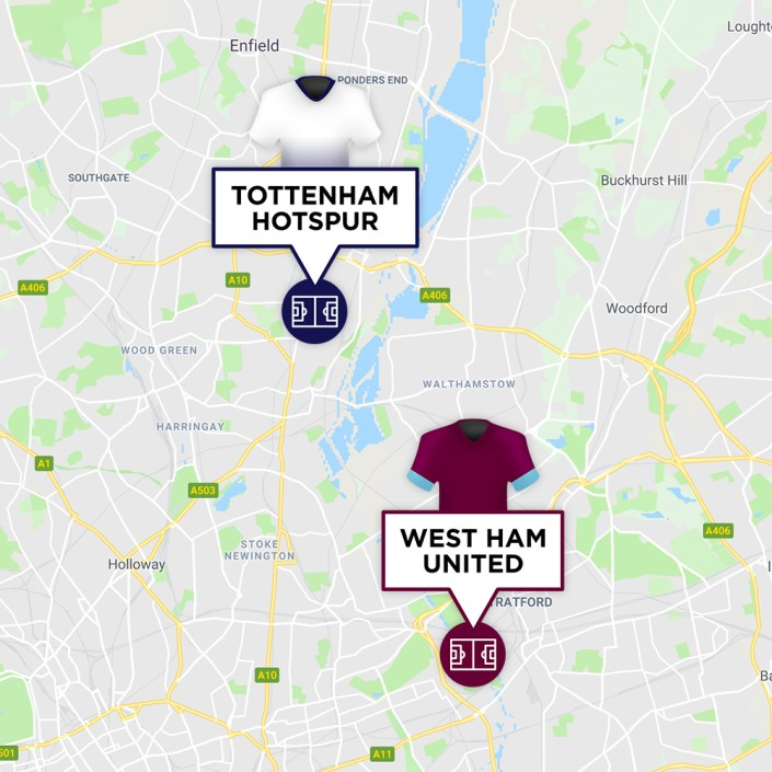 Map of West Ham & Tottenham Stadiums